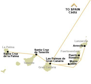 Canary Island Ferry Crossing Route Map - Including Link to Spain