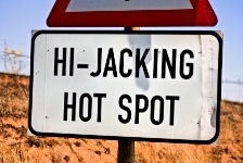 Travel Dangers - Hi-Jacking Hotspot Sign