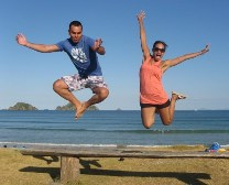 Couple Jumping for Joy on their Overland Gap Year