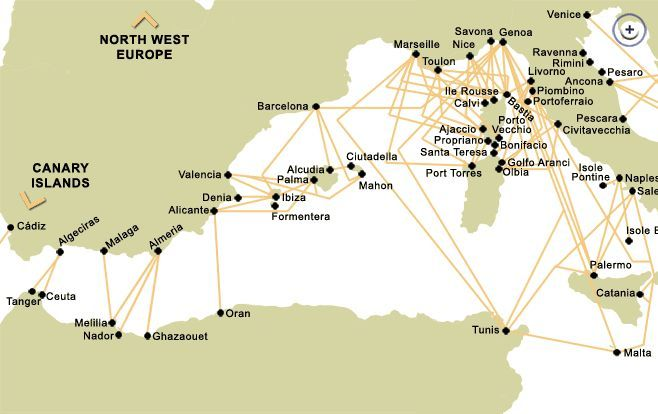 West Mediterranean Ferry Crossing Route Map