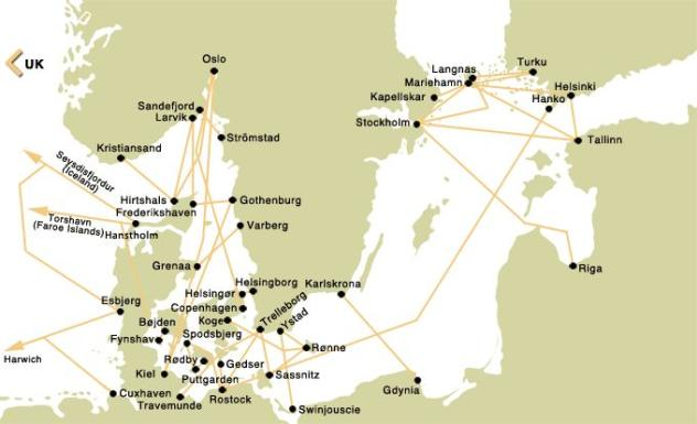 Scandinavia Ferry Crossing Route Map