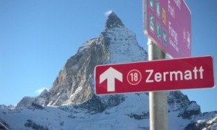 Zermatt Sign in the Alps