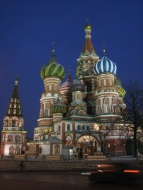 St. Basil's Cathedral in Moscow - First stop after several days on the Trans-Mongolian Express